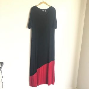 Chico's Travelers Black Red Color Block Dress Sz 1